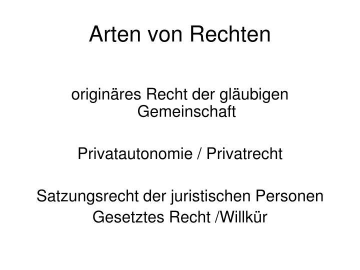 Arten von Rechten