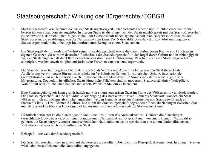 Staatsbürgerschaft / Wirkung der Bürgerrechte /EGBGB