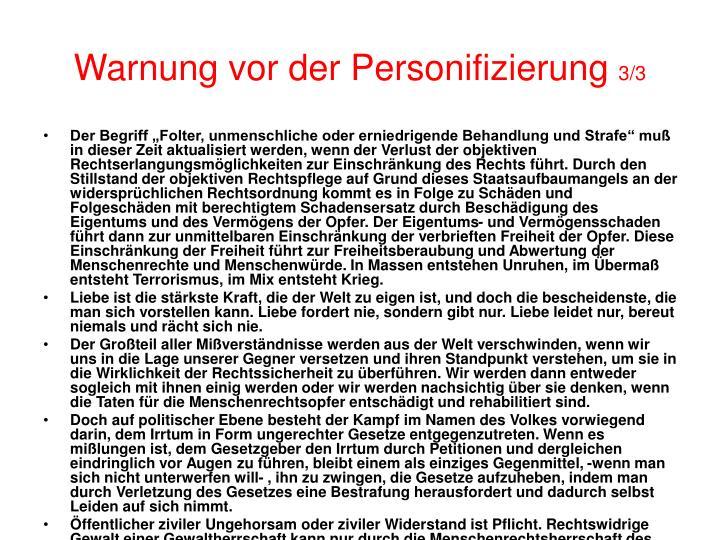 Warnung vor der Personifizierung
