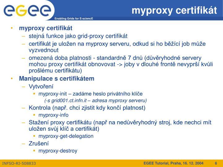myproxy certifikát