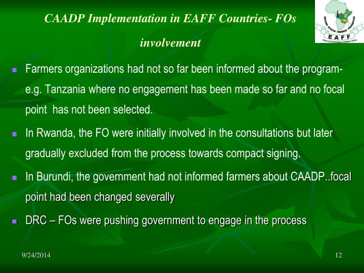 CAADP Implementation in EAFF Countries- FOs involvement