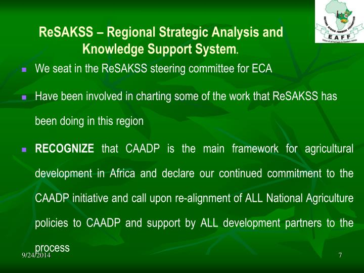ReSAKSS – Regional Strategic Analysis and Knowledge Support System