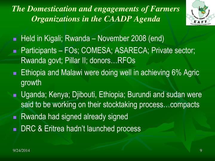 The Domestication and engagements of Farmers Organizations in the CAADP Agenda