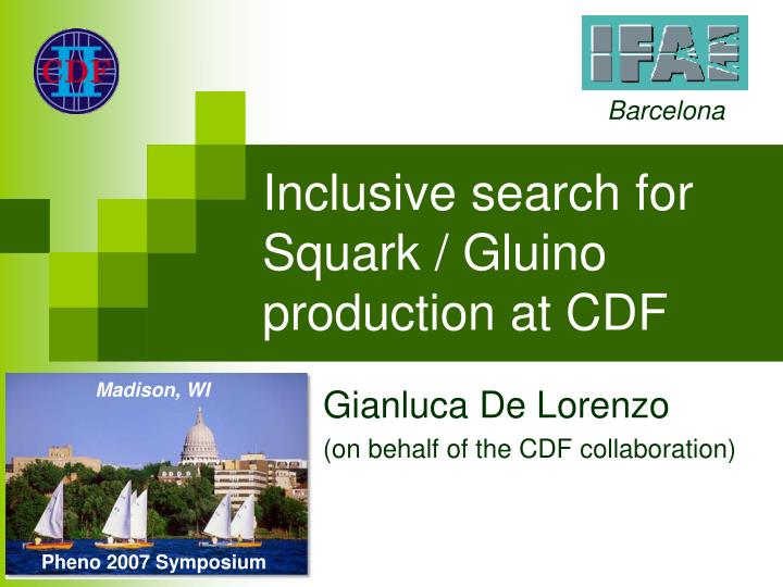 Inclusive search for squark gluino production at cdf