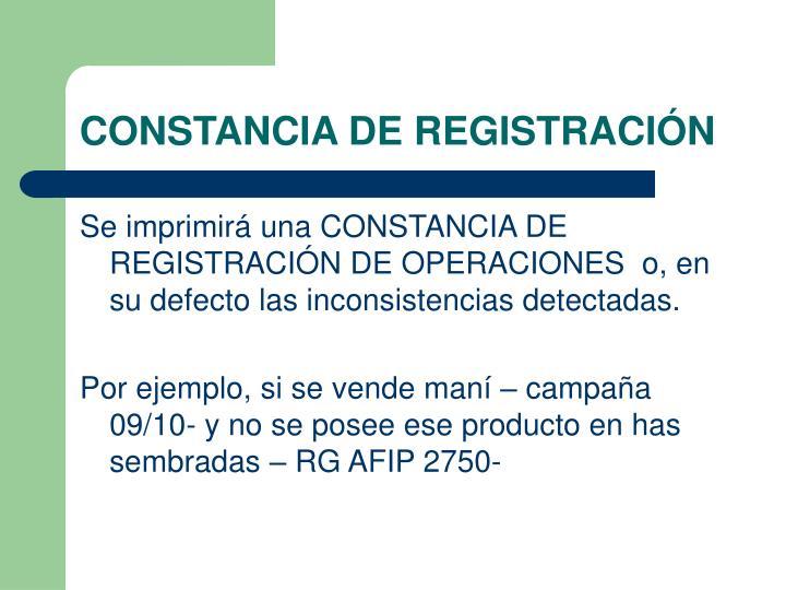 CONSTANCIA DE REGISTRACIÓN