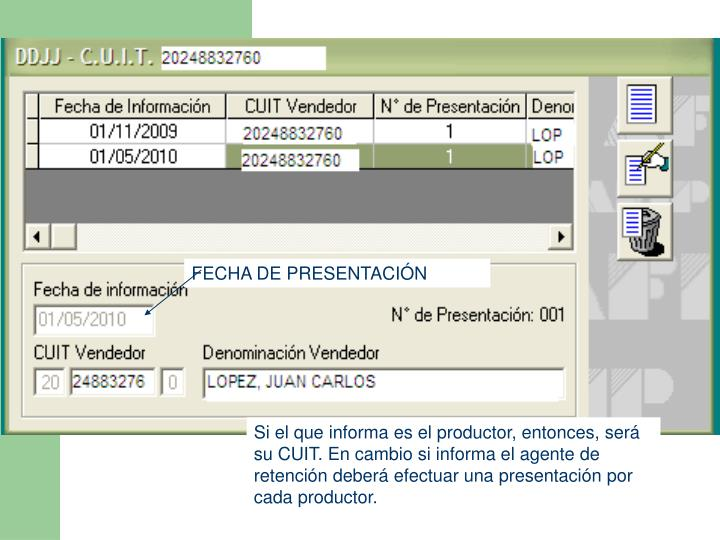 FECHA DE PRESENTACIÓN