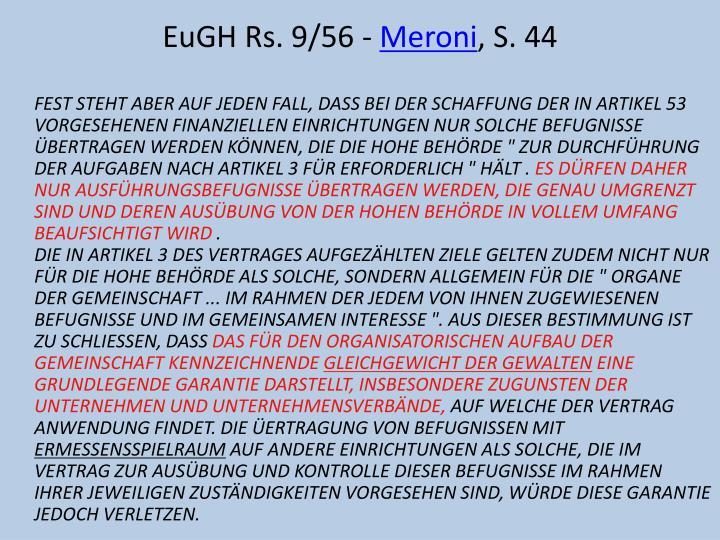 EuGH Rs. 9/56 -