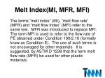 melt index mi mfr mfi