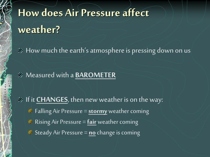 How does Air Pressure affect weather?
