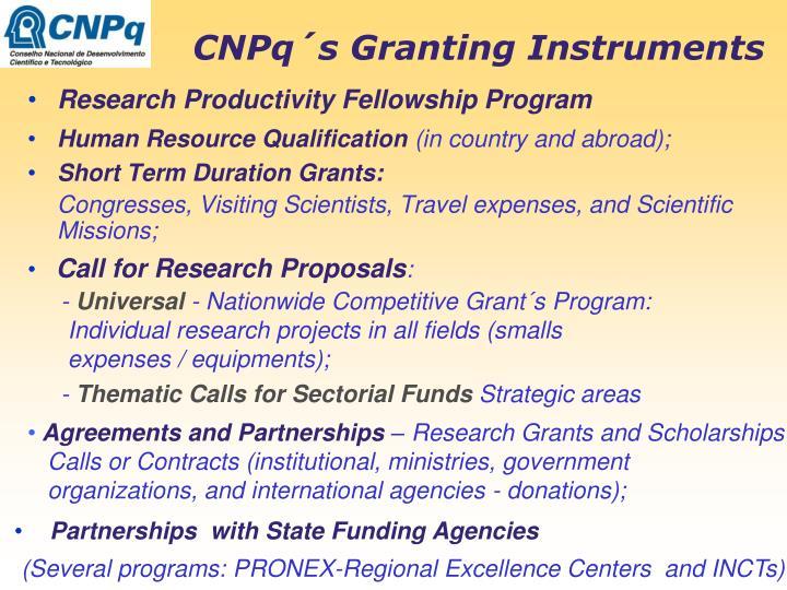 CNPq´s Granting Instruments