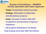 groups of excellence pronex jointly operated with state agencies