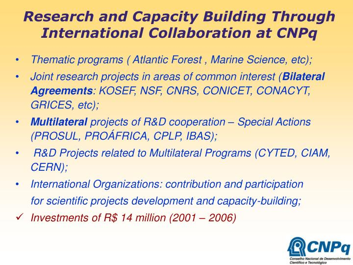 Research and Capacity Building Through