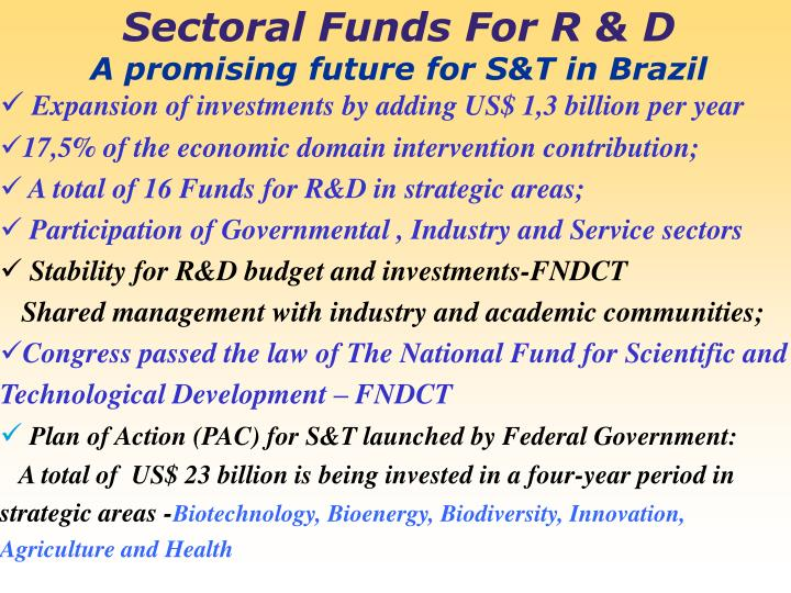 Sectoral Funds For R & D