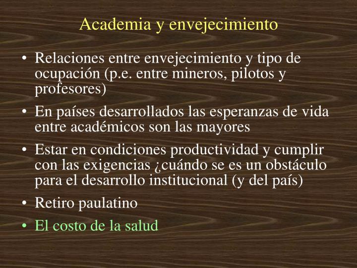 Academia y envejecimiento