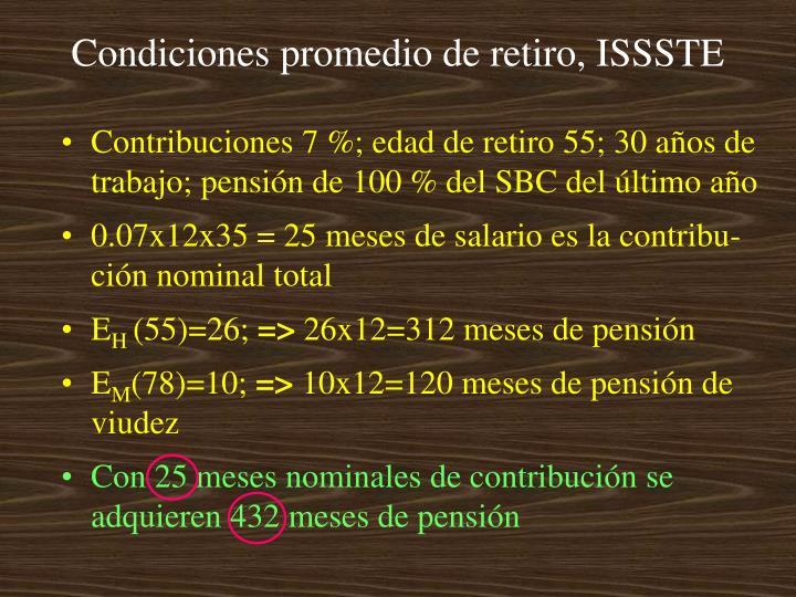 Condiciones promedio de retiro, ISSSTE