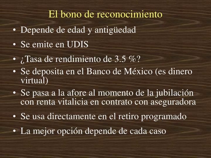El bono de reconocimiento