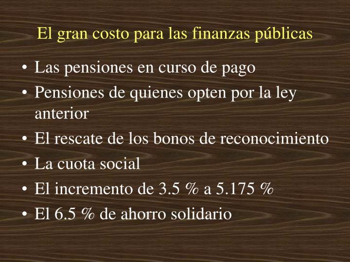 El gran costo para las finanzas públicas