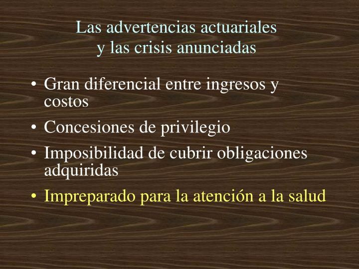 Las advertencias actuariales