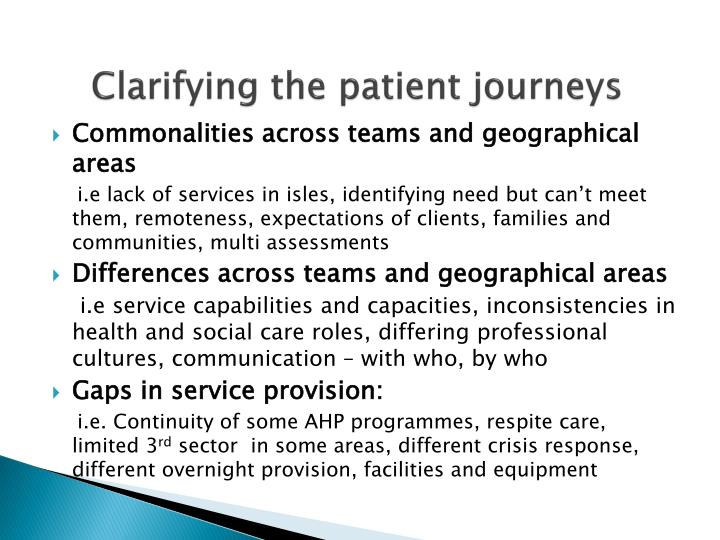 Clarifying the patient journeys