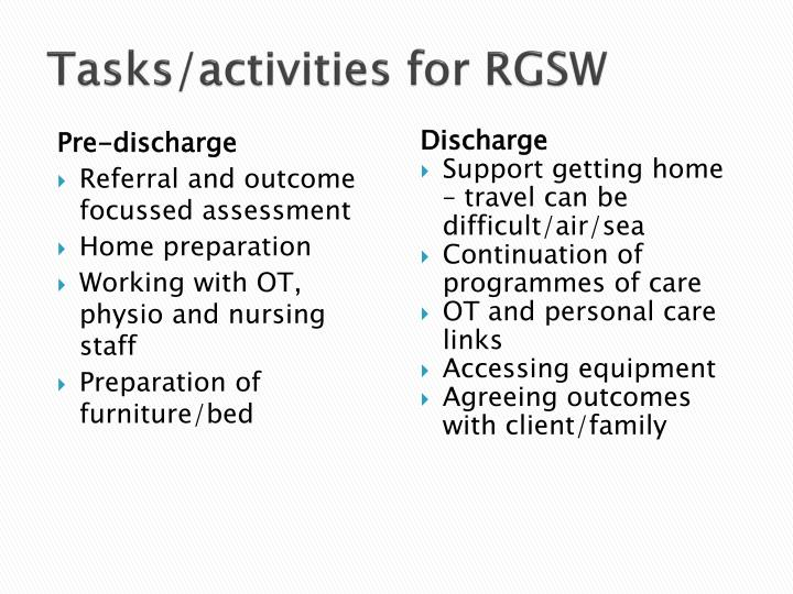 Tasks/activities for RGSW