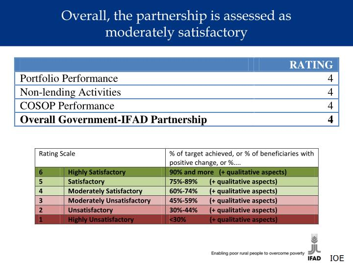 Overall, the partnership is assessed as