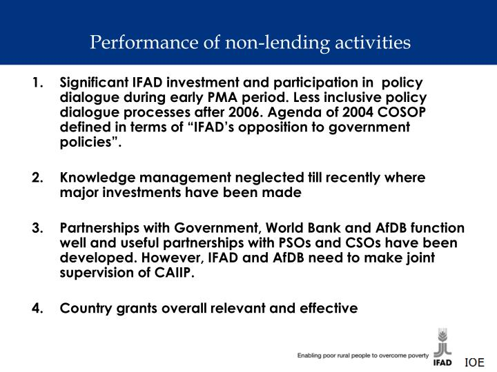 Performance of non-lending activities