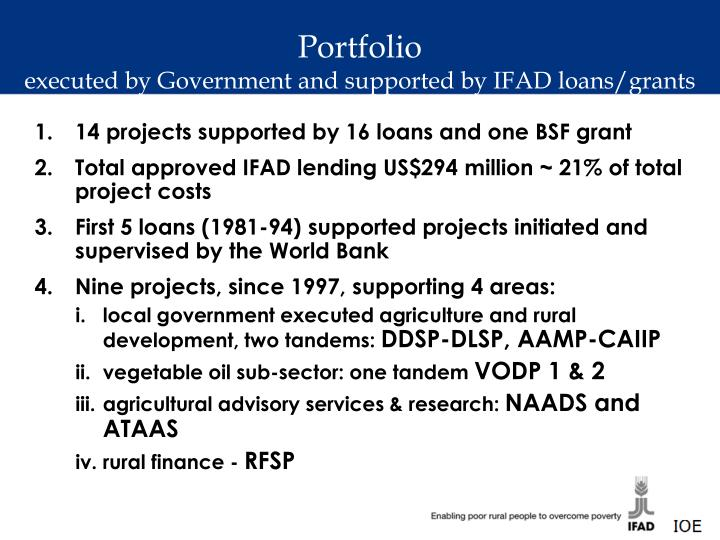 Portfolio executed by government and supported by ifad loans grants