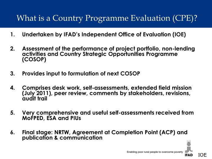 What is a Country Programme Evaluation (CPE)?