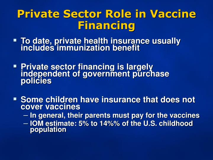 Private Sector Role in Vaccine Financing