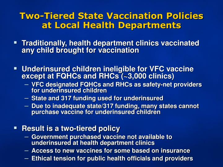 Two-Tiered State Vaccination Policies at Local Health Departments