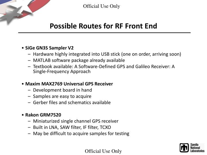 Possible Routes for RF Front End
