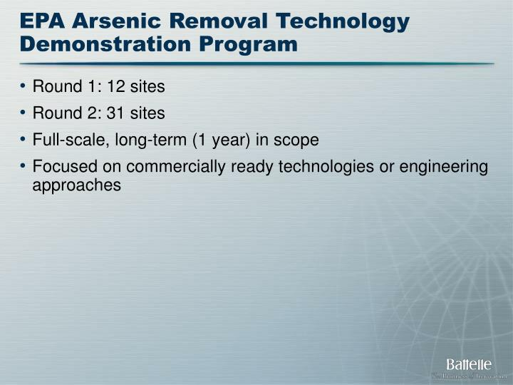 EPA Arsenic Removal Technology Demonstration Program