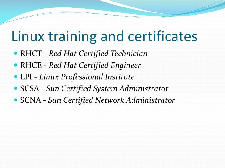 Linux training and certificates