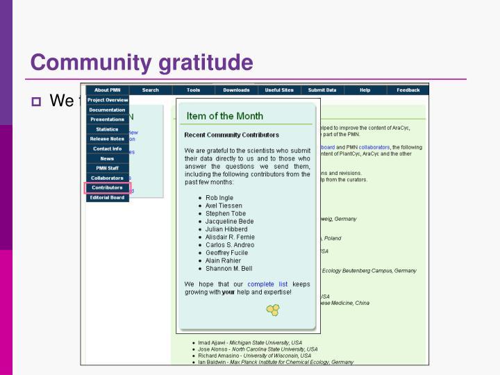 Community gratitude