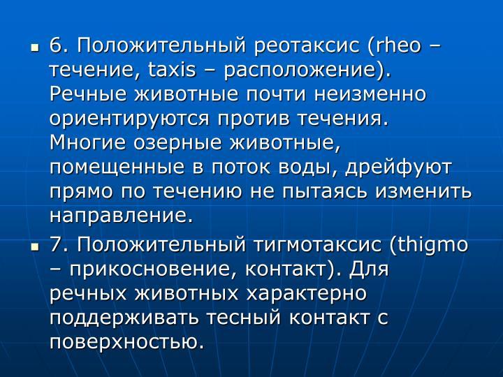 6. Положительный реотаксис (