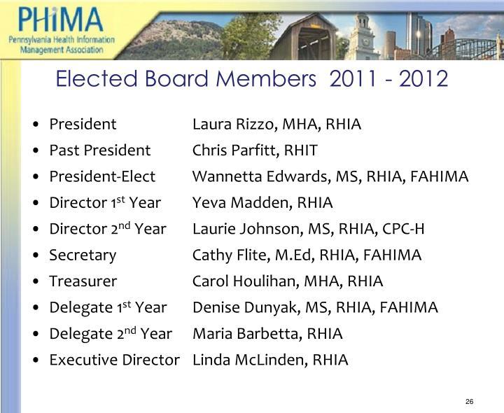 Elected Board Members  2011 - 2012