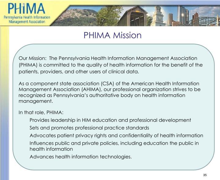 PHIMA Mission