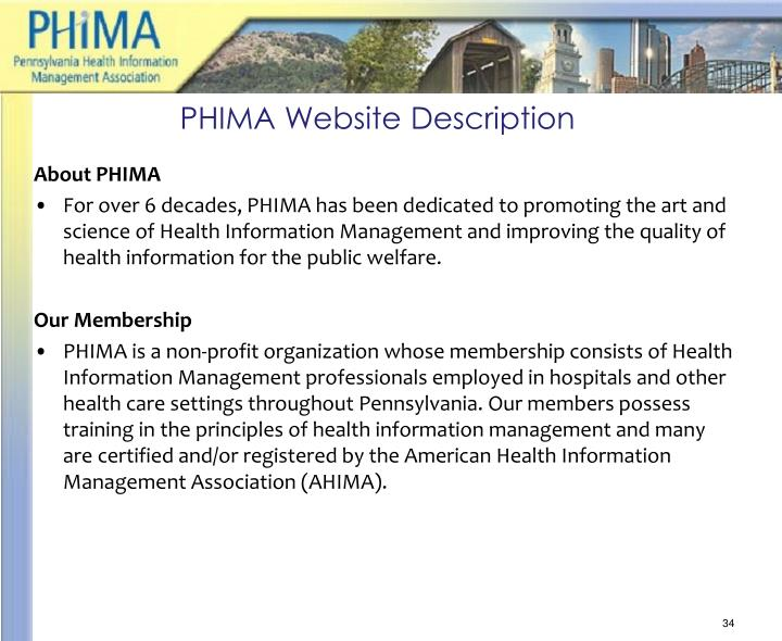 PHIMA Website Description