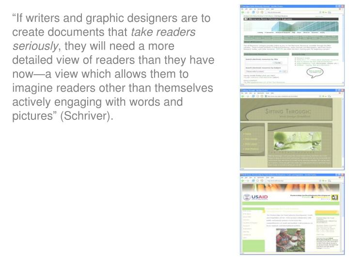 """If writers and graphic designers are to create documents that"