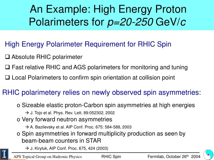 An Example: High Energy Proton Polarimeters for