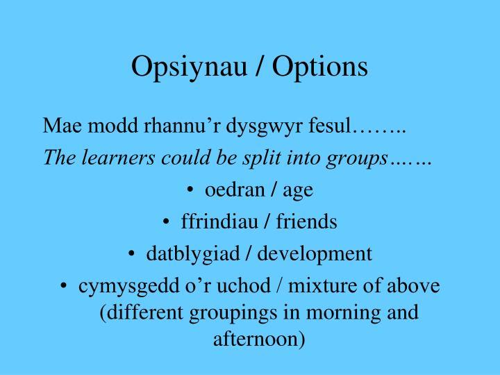Opsiynau / Options