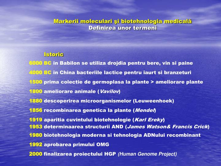Markerii moleculari şi biotehnologia medicală