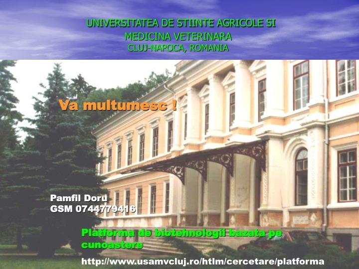 UNIVERSITATEA DE STIINTE AGRICOLE SI