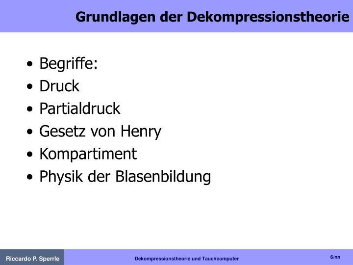 Grundlagen der Dekompressionstheorie