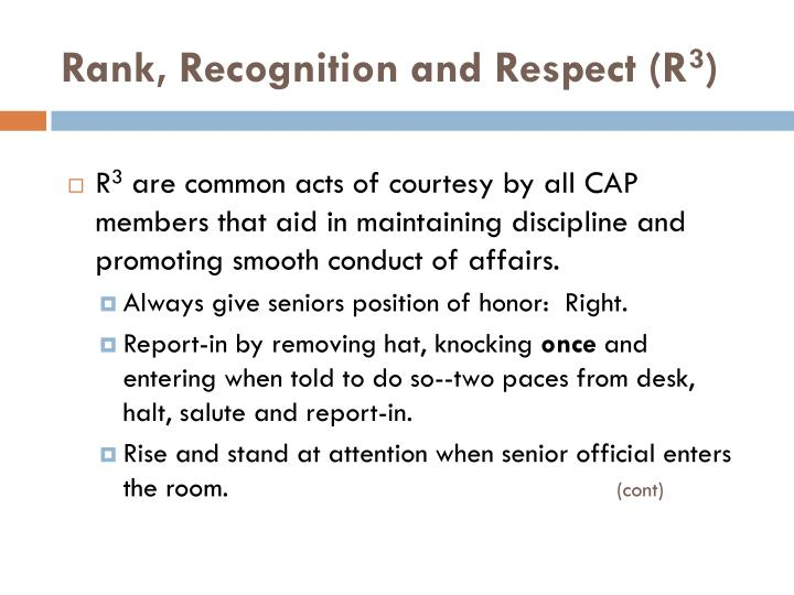 Rank, Recognition and Respect (R
