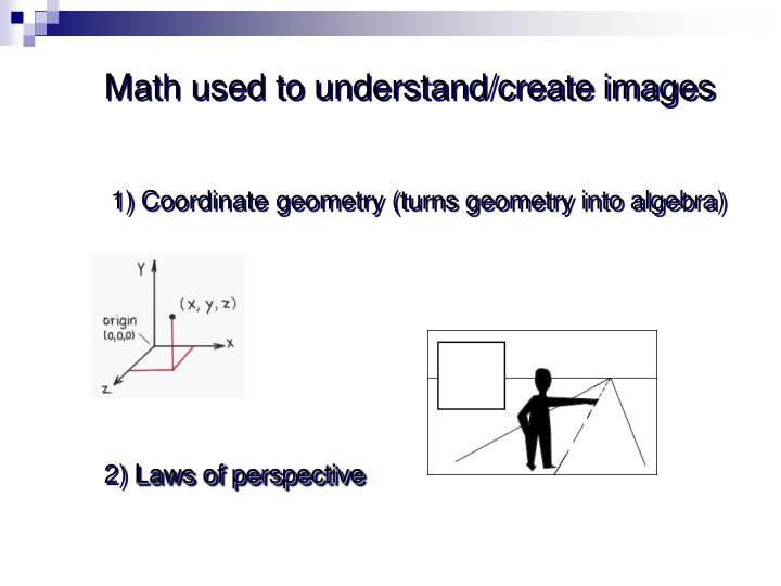 Math used to understand/create images