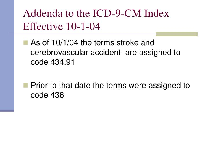 Addenda to the ICD-9-CM Index