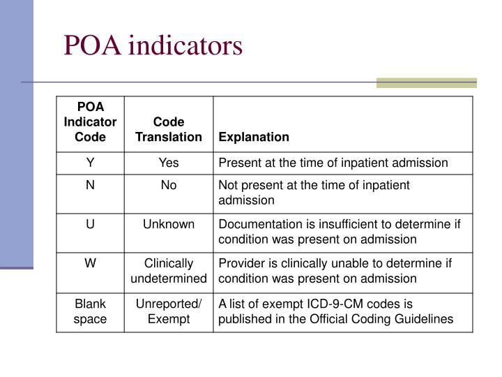 POA indicators