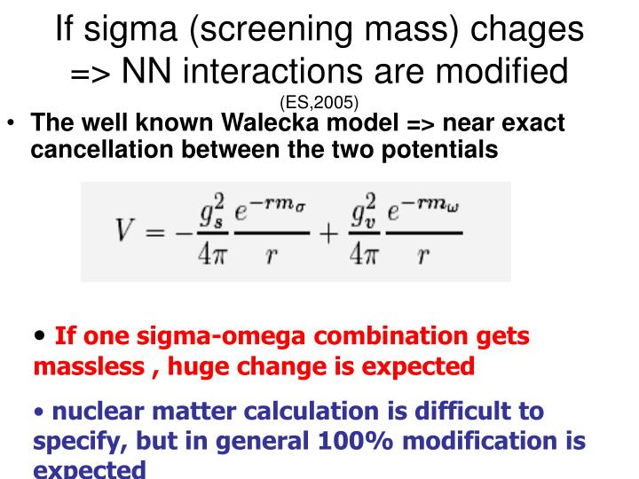 If sigma (screening mass) chages => NN interactions are modified