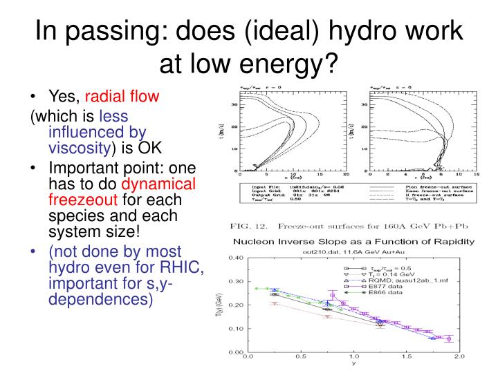 In passing: does (ideal) hydro work at low energy?